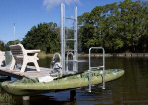 green kayak on Golden Kayak Launch